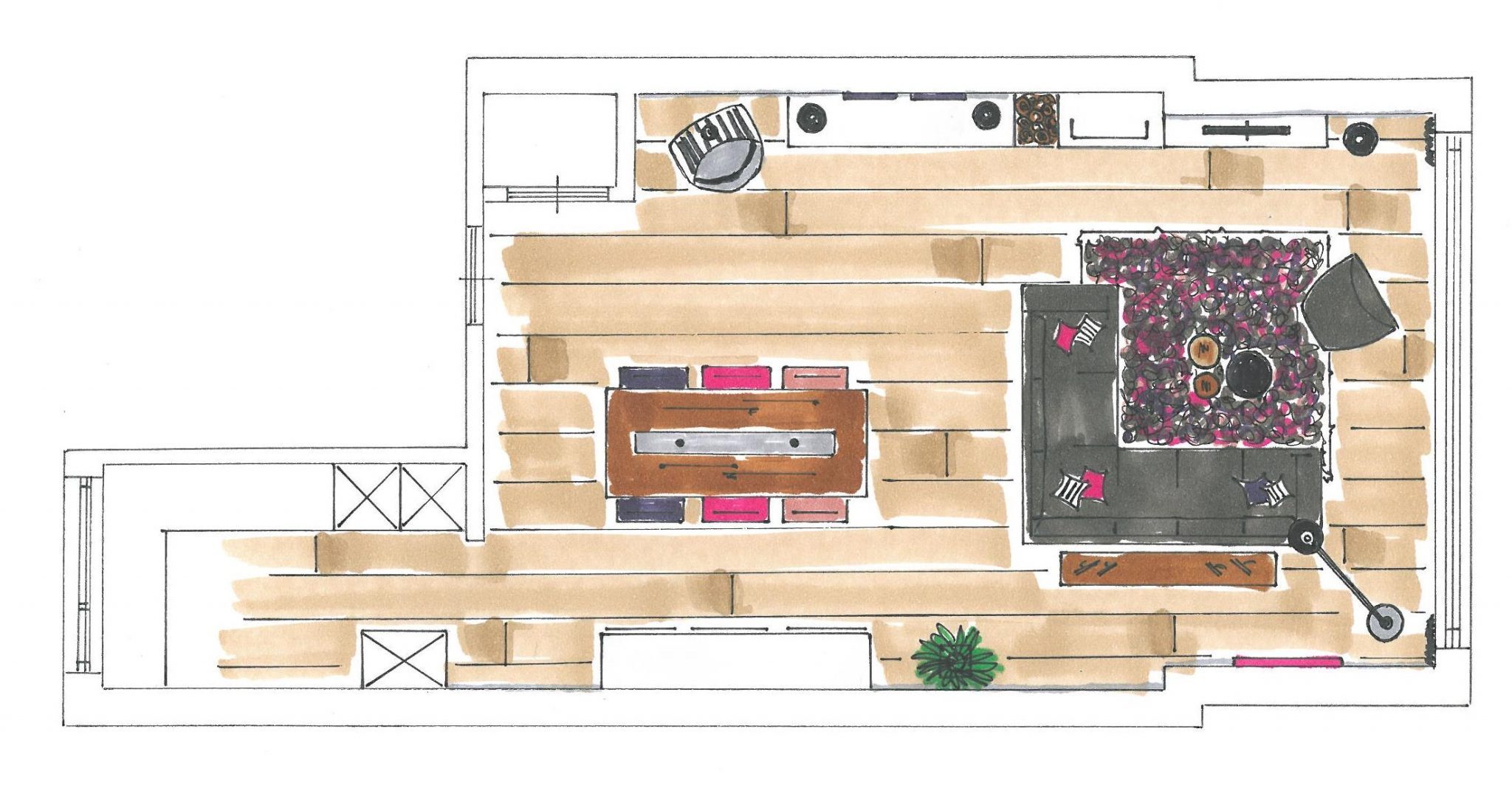 Beautiful Plattegrond Woonkamer Images - New Home Design 2018 ...