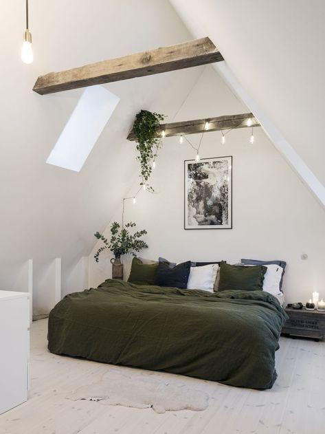 slaapkamer zolder wit groen