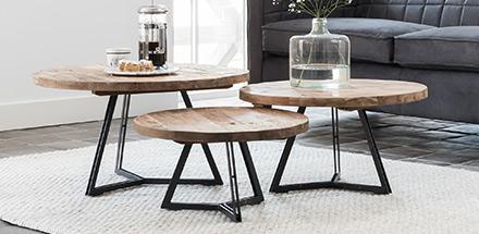Trend: salontafel van hout met staal