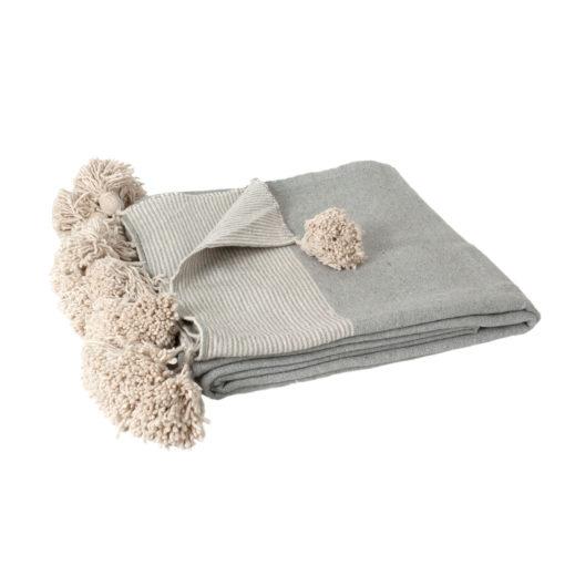 Pom pom deken XL grijs