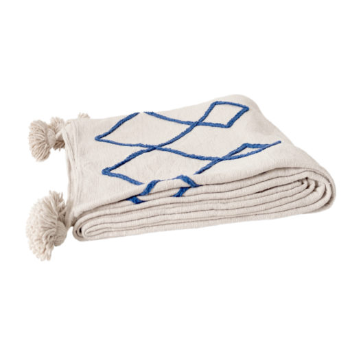 Pom pom deken embroided wit blauw