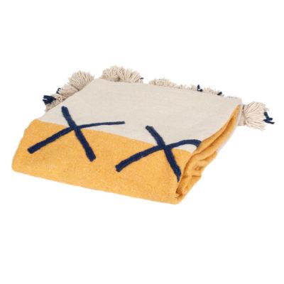 Handgewoven deken zonnegeel wit geel Tozline origineel